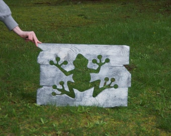 Rustic custom made frog wood working wall art