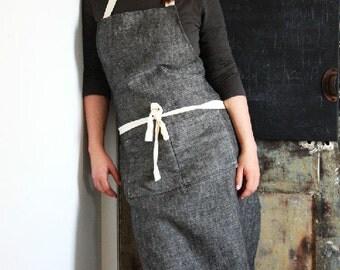 100% linen handmade full apron