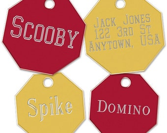 Large Octagon Pet ID Tag with Split Ring
