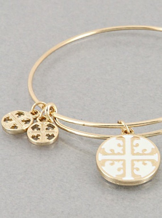 Tory Burch Inspired Gold And White Bangle Bracelet