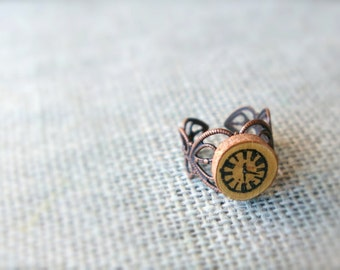 Clock Jewelry - Clock Ring - Filigree Ring - Adjustable Ring - Wood Jewelry