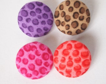Small leopard print  fabric covered buttons (size 60, 40, 32, 20, or 18)
