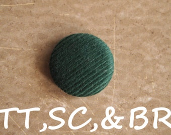 green corduroy fabric covered buttons  (Tie Tacks, Shoe Clips, Brooch)