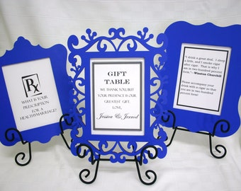 Laser cut wood frames and signs for wedding decorations.