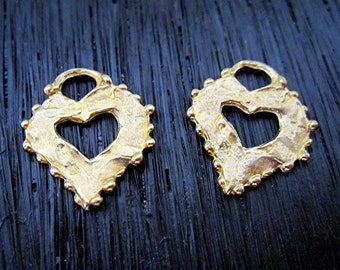 Gold Bronze Medium Flat Open Dotted Heart Charm and Pendant (set of 2) (N)
