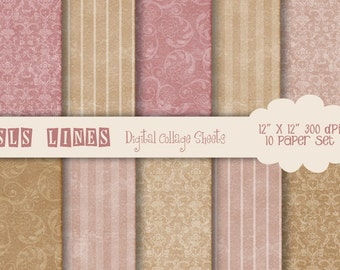 Digital Collage Sheet, Pink and Beige, Vintage Paper, Digital Scrapbook, Digital Paper Pack