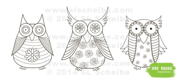 Owl Digital Stamp Whimsical Owls Coloring Page Cute Adult Colouring Instant Download Digistamp