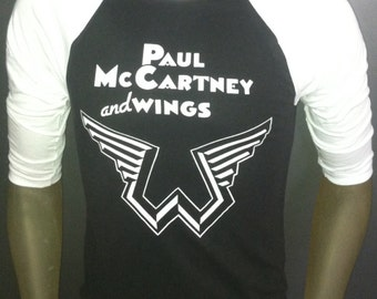Paul McCartney and Wings t-shirt new vintage style concert tour jersey the beatles made in usa