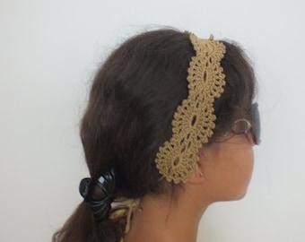 "Promotion Crochet Headband, Crocheted headband ""Elegance""  women, girl accessories,light brown headband / 2th product free shipping"