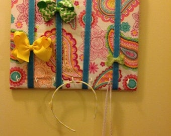 Aqua On Pink Paisley Bow Holder and Headband Organizer