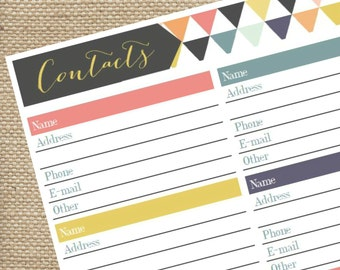 Printable Address Book PDF, Contact Tracker, Instant Download, Bright Triangles, Geometric Design