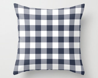 Large Gingham Pillow Cover, nautical navy blue pillow, beach decor, country picnic decor, c pillow,  pillow