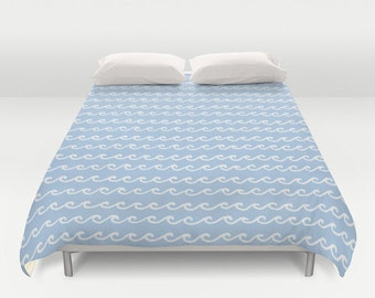 Ocean Waves Duvet Cover, pastel blue bedroom decor, queen duvet cover, king duvet cover, queen size duvet covers