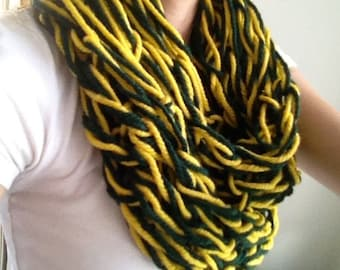 Green Bay Packers Scarf // Green and Gold Arm Knit Infinity Scarf // Packer Infinity Scarf // Alaska Scarf // Oregon Ducks Scarf // Baylor