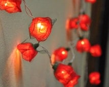 Red String Lights For Bedroom : Popular items for rose string lights on Etsy