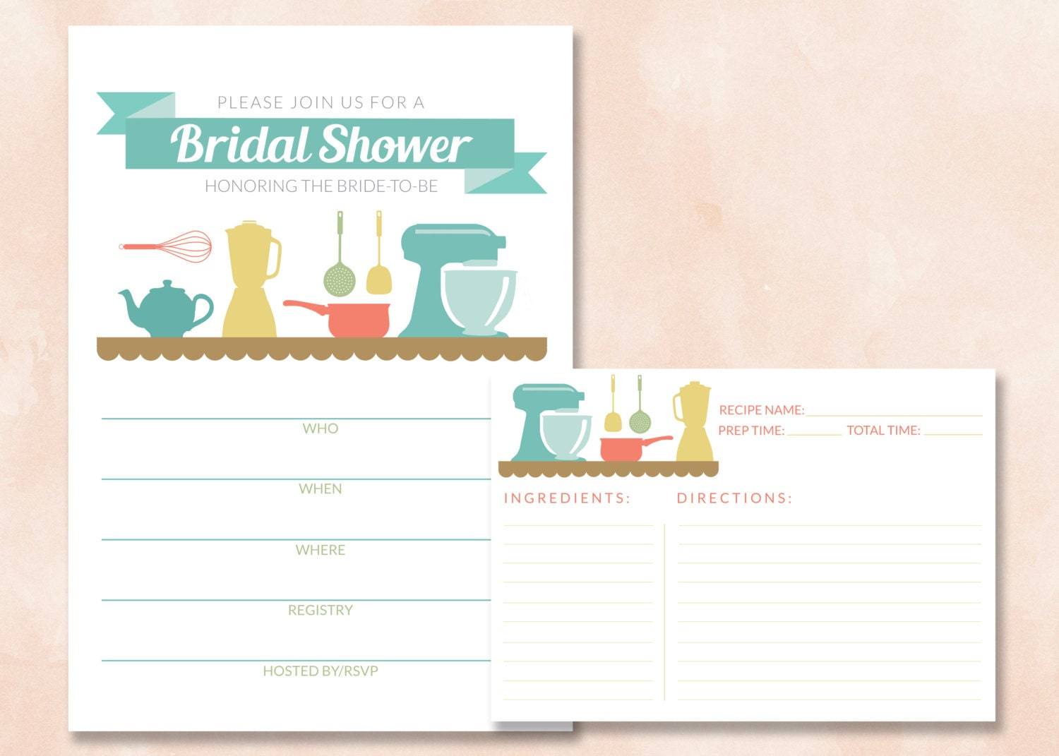 Bridal wedding kitchen shower invitation recipe card for Bridal shower fill in invitations