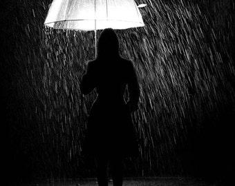Nature Photography.  Rain Photography.  Spring Photography. Black and White Photography 8x12 Print