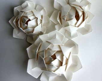 Handmade Cotton Rag Paper Succulent, White Lotus Flower, Origami Flower, Perfect for Rustic Wedding,Wedding Decoration, Wedding Centerpieces