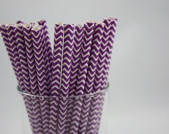 """Purple and White Chevron Paper Straws - 7.75"""" - purple and white - white and purple - baby shower  - birthday party ideas - dark purple"""