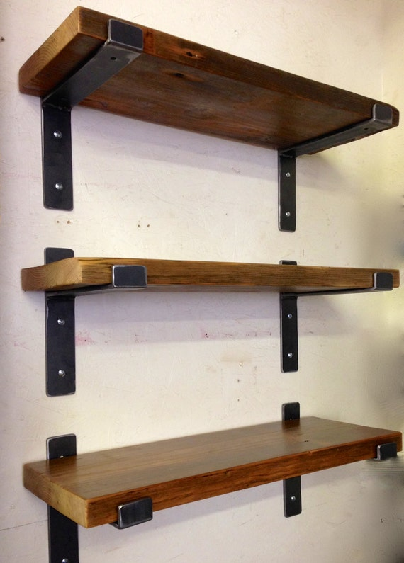 "Handcrafted Metal Shelf Brackets and 36"" x 11"" Reclaimed Wood Shelf by lemay+rivenbark design lab"