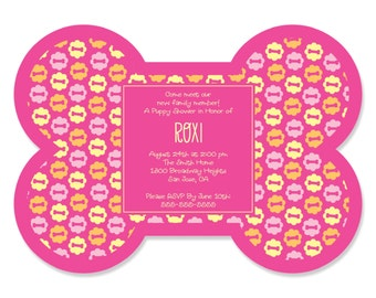 Pink Girl Puppy Party Invitations - Dog Party Supplies - Set of 12