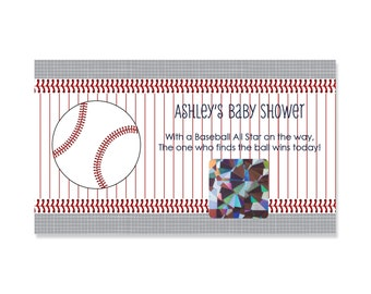 Batter Up! Baseball Baby Shower Games - 22 Personalized Scratch Off Baby Shower Game Cards