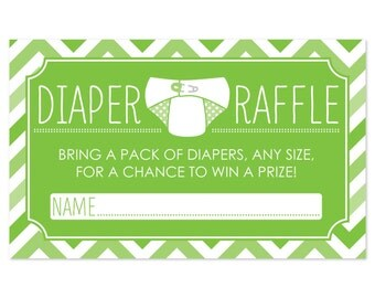 18 Diaper Raffle Tickets in Green Chevron Pattern - Baby Shower Game - Printed Diaper Raffle Cards