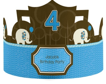 8 Custom Blue Elephant Birthday Party Hats - Custom Party Supplies - 8 Count