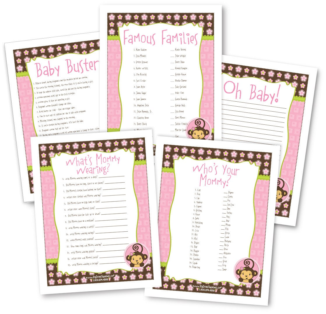 Monkey Girl Printable Baby Shower Game Pack - 5 Instant Download & Print Games