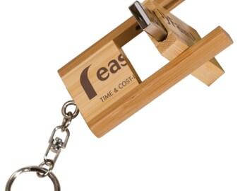 2-Tone Bamboo Flip Style USB Flash Drive with Keychain