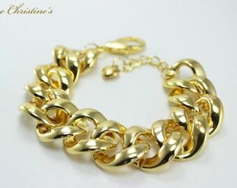 Lillian - Chunky Organic Golden Celebrity Link Alloy Bracelet, Tiger Tail, 225x22mm, 8.86 inches long, 19g - BCX050144