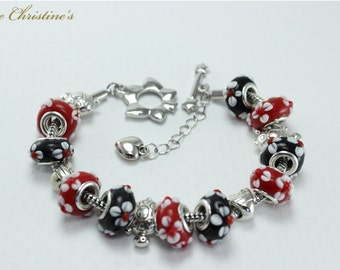 Amy - Red and Black Lampwork European style beads, Tibetan style findings, silvertone Brass Bracelet, 195mm (7.68 inches), 43g - BBX110101