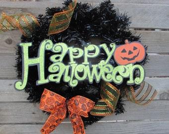 "18"" Happy Halloween Wreath- Jack-o-lantern Wreath- Pumpkin Wreath- Halloween Wreath- Halloween Decor- Pumpkin Decor- Black/Green Wreath"