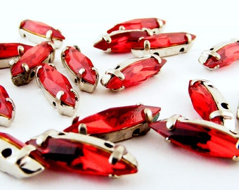Red Rhinestones Sew On Rose Montee Navettes Siam Lot of 50
