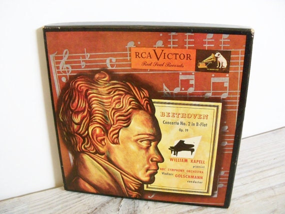 Beethoven Concerto No 2 NBC Symphony Orchestra RCA Antique Red Seal Records 1950 Red Vinyl Boxed/4