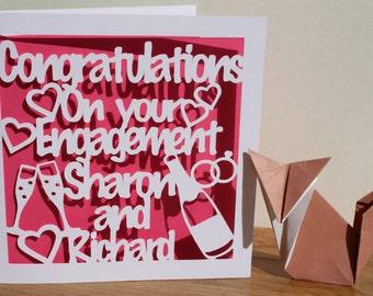 Personalised Engagement card - Handmade Papercut design