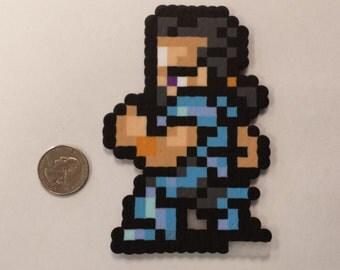 Final Fantasy VI Cyan Garamonde in battle pose perler bead sprite