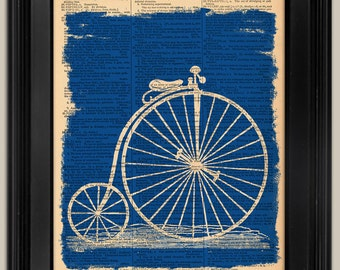 "Antique Bicycle Blueprint Vintage Style print. Print on dictionary book page art print. Printed dictionary page.   Fits 8""x10"" frame."