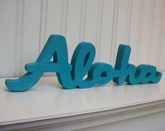 """Aloha wood word sign - handmade wood sign - Turquoise """"Aloha"""" sign"""