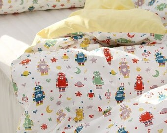 Cute and Vivid Robots Pattern 20s Cotton Oxford Fabric