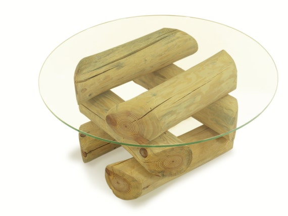 ECO FURNITURE log coffee table glass top table by