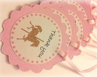 Pink and gold Carousel horse party favor tags, carousel party thank you tags, pink and gold, cupcakes and carousels. carousel birthday, baby