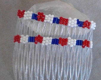 Combs hair combs 4th of July women's beaded red, white, and blue hair combs