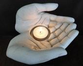 Unique Vintage Offering Hands Display , Sculptural Candle/Sphere Holder
