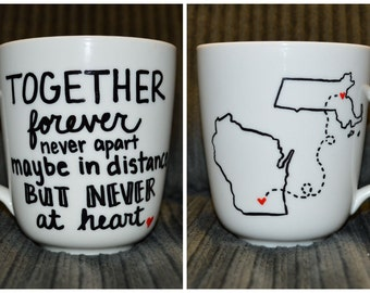 Long Distance Friendship or Relationship Mug - Long Distance Mug - Love Mug - State Mug - Mother's Day Gift