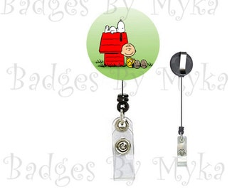 Retractable ID Badge Holder - Charlie Brown