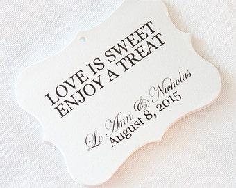 Love is Sweet Enjoy A Treat Wedding Tags, Customized Wedding Tags, Wedding Favor Tags  (EC-001)