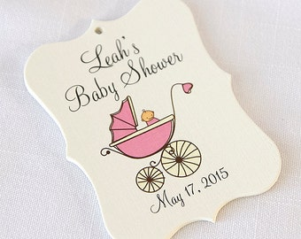 Baby Shower Tags, Baby Girl Shower Tags, Baby Girl Favor Tags, Baby Girl Favor Tags  (EC-033)