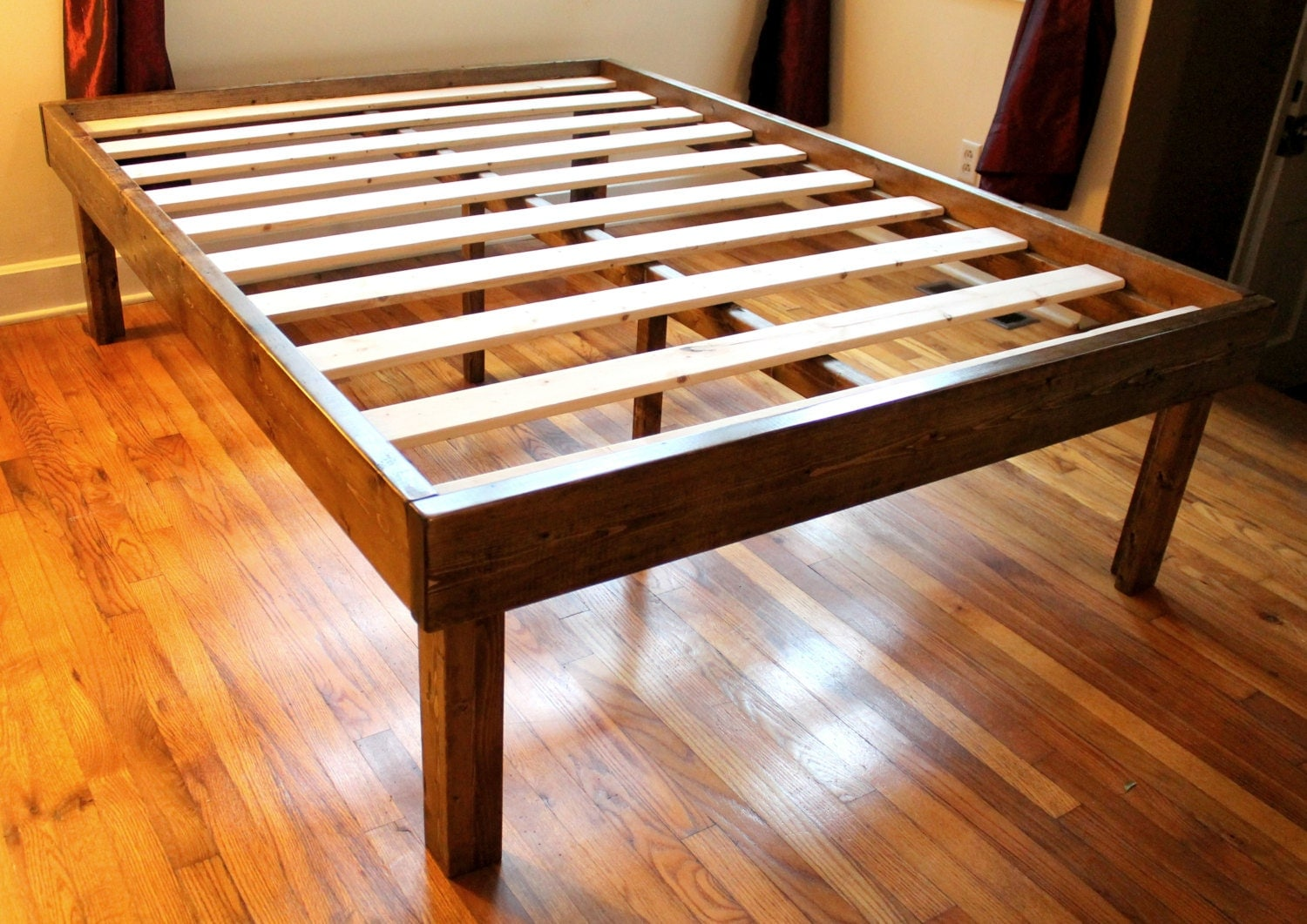 Rustic wood minimalist bed frame twin full queen king Rustic bed frames