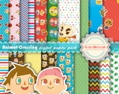 Animal Crossing digital papers, cliparts, Nintendo, New Leaf, Town, Nintendo DS, game, printable, pattern, wallpaper [SC-015]